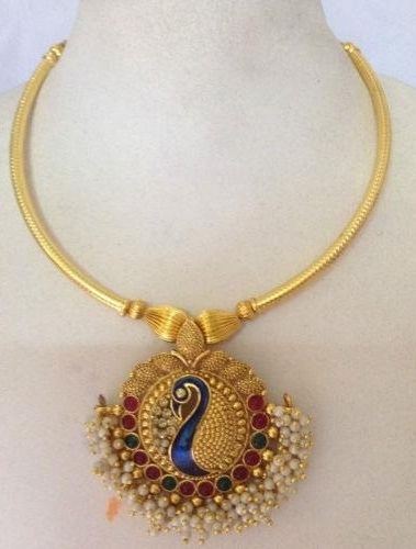 9 latest 25 grams gold necklace designs in india styles at life peacock pendant necklace aloadofball Image collections