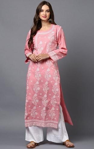 Pink Embroidered Cotton Kurta