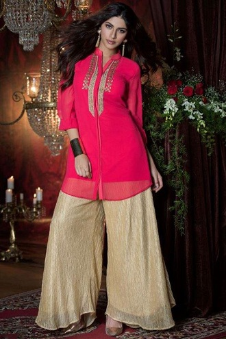 Pink Kurti with Plazo Style