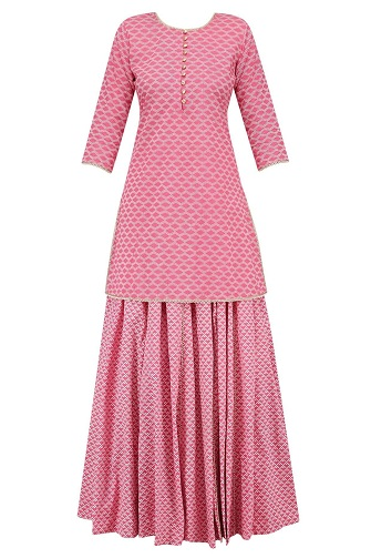 Pink Pearl Embroidered Short Kurta and Skirt Set
