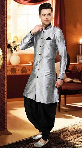 Plain Design Men's Silver Kurta