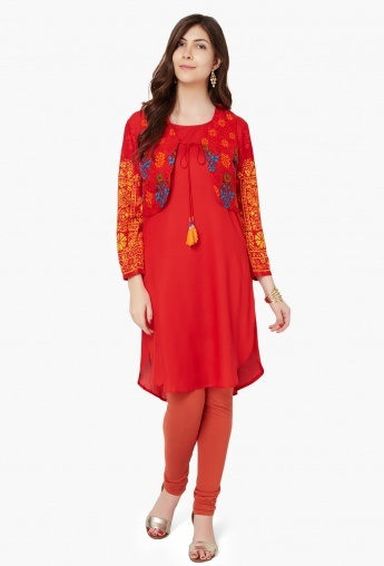 Plain Kurti with Printed Shrug