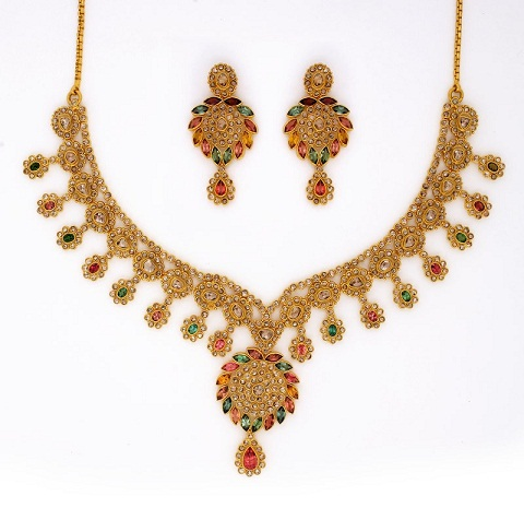 Polki Diamond Gold Necklace Design