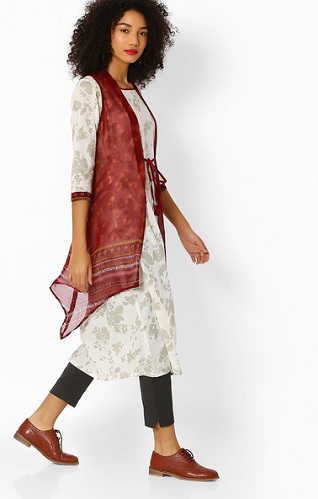 Printed Kurti with Shrug