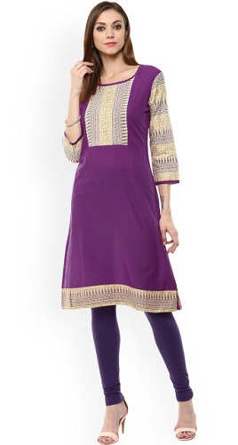 Purple Front Slit Kurta