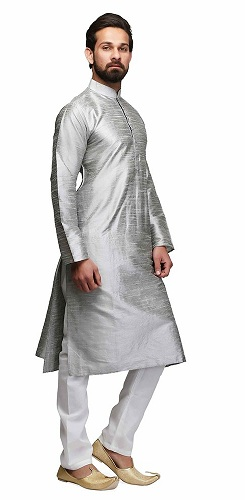 Raw Silk Men's Silver Kurta