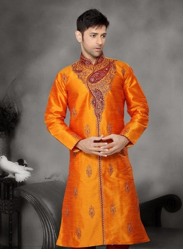 Raw Silk Embroidery Kurta