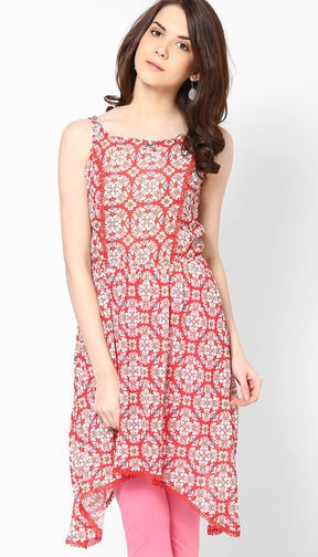 Red High low Hem Sleeveless Kurti