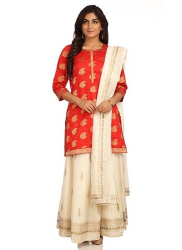 Red Kurti with Off-white Skirt