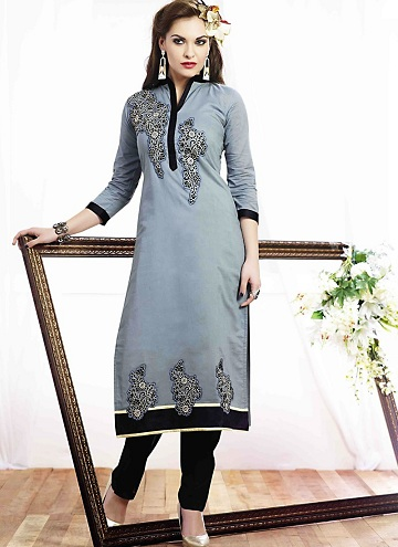 Resham Work Silver Kurti for Women