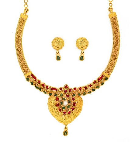 Ruby and Emerald Gold Necklace Design