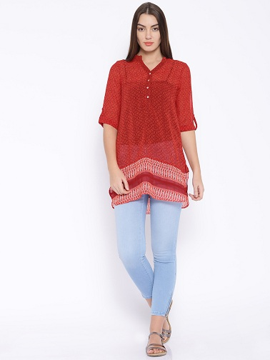 Semi Sheer Short Kurti