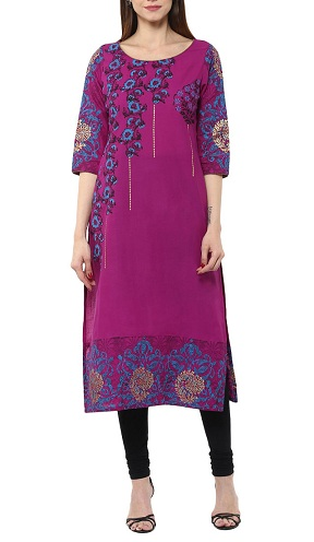Straight Purple Kurta