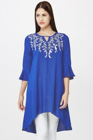 Synthetic Frilled Sleeves Kurti Tunics