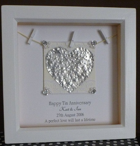 Here Is A Truly Unique Frame That Made With Tin Piece Shaped In The Form Of Heart Hammered To Give It Some Embossed Effect