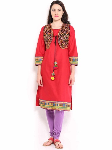 Traditional Wear Ladies Kurtas with Waistcoat