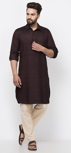 Tussar Cotton Dobby Pathani Kurta