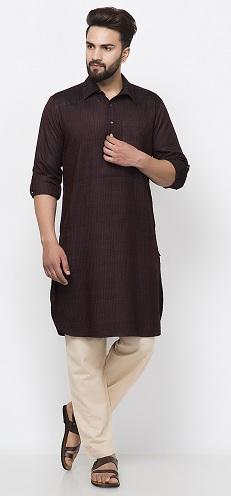 Tussar Cotton Dobby Pathani Kurta