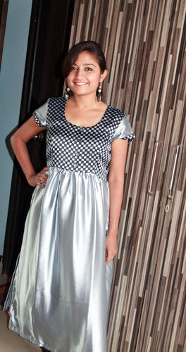 Unique Cut Silver and Black Women's Kurti