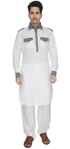 White & Gray Pathani