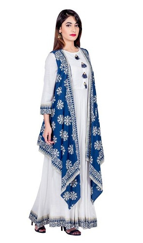 White Indo Western Kurta with Attached Blue Shrug