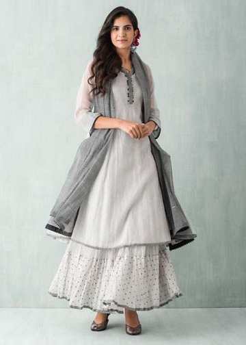 White and Gray Kurta with Flare Bottom Skirt