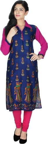 Women Blue Solid Pathani Kurta with Tucks