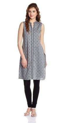 Women's Straight Cut Grey Cotton Kurta
