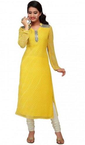 Yellow and White Straight Cut Kurta