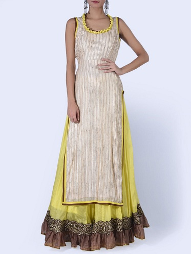 Yellow and Beige Kurta and Skirt Set