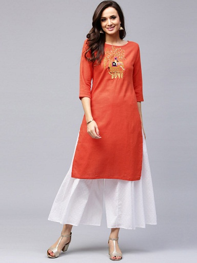 AKS Women Orange Embroidered Straight Kurti