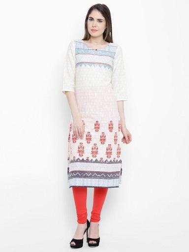 AURELIA Women Off-White Printed Straight Kurti