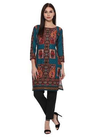 Ahalyaa Cotton Pakistani Style Print Kurta For Women