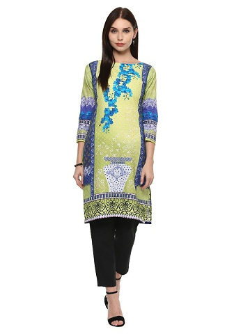 Ahalyaa Lemon Green Floral Pakistani Cotton Kurti