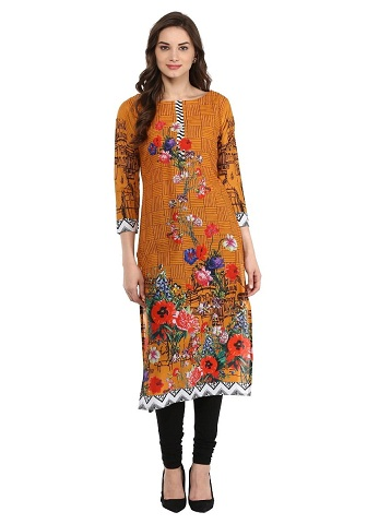 Ahalyaa Yellow Mustard Digital Print Pakistani Cotton Kurti