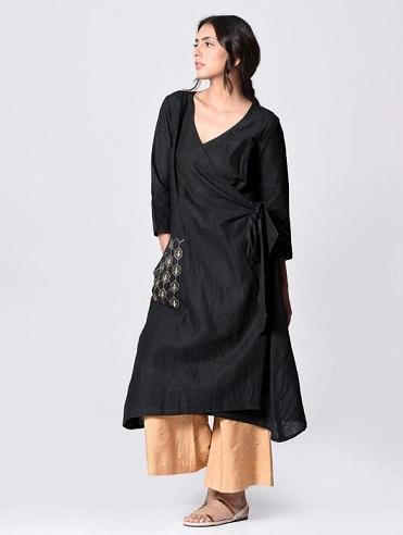 Black Cotton Embroidered Wrap Kurta