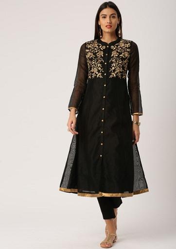 Black Embroidered A-Line Kurta