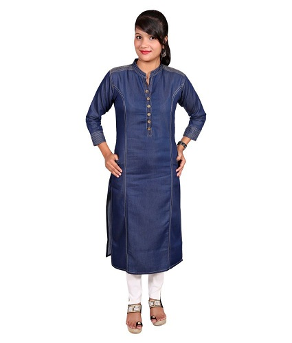 Blue Denim Straight Kurti
