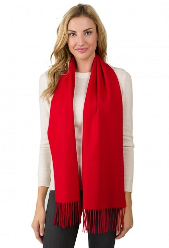Bright Red Cashmere Scarf for Women