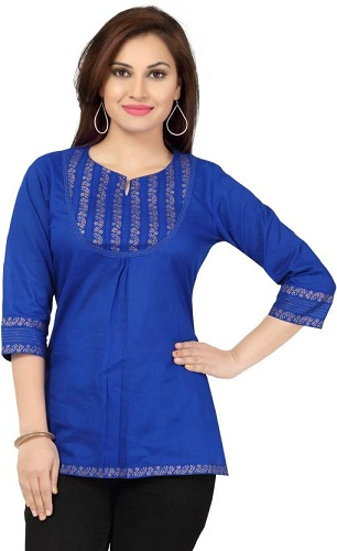 Casual Printed Women's Blue Kurti
