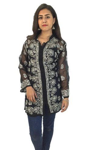 Chikan Hand Embroidered Short Black Top