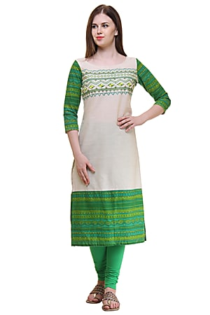 Cotton Flex Embroidery Green Kurti