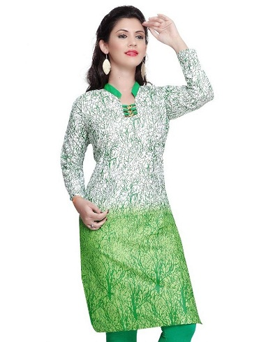 Cotton Printed Green Kurti