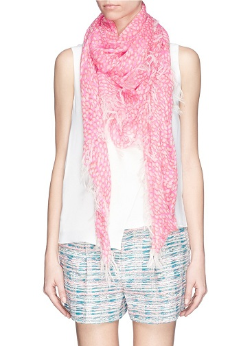 Dot Printed Silk Cashmere Pink Scarf for Ladies