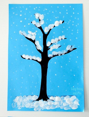 Finger Painting Winter Tree