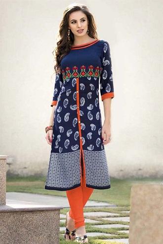 Fabric Designer Embroidered Blue Kurti
