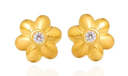Flower Gold Earrings Design in 2gm