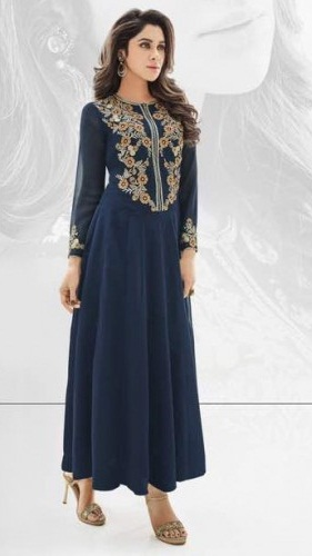Georgette Blue Embroidered Long Kurti