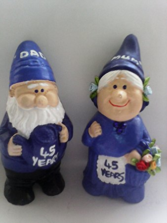 The Mr. and Mrs. Gnome figurines are made of blue and look ever so adorable. You can get these 45th wedding anniversary gifts for ...