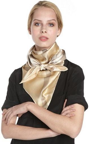 Gold Silk Checker Pattern Scarf